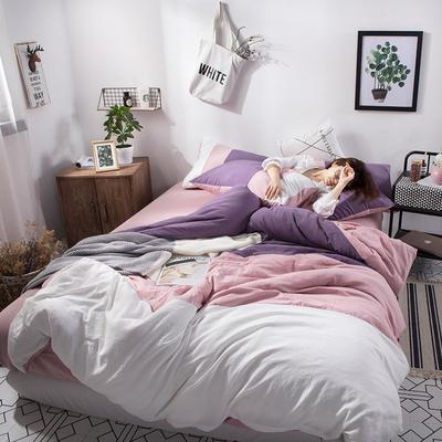 2019新款三拼水洗棉四件套 1.2m床单款四件套 巴黎-紫