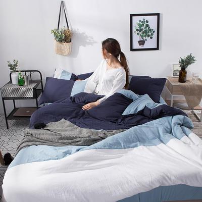 2019新款三拼水洗棉四件套 1.2m床单款四件套 纽约-蓝