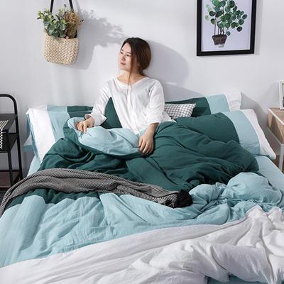 2019新款三拼水洗棉四件套 1.2m床单款四件套 巴厘岛-绿