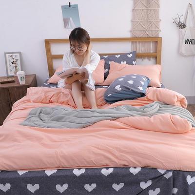 2018新款水洗棉四件套 1.2m(4英尺)床(四件套) 活力心