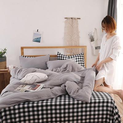2018新款水洗棉四件套 1.2m(4英尺)床(四件套) 太空格
