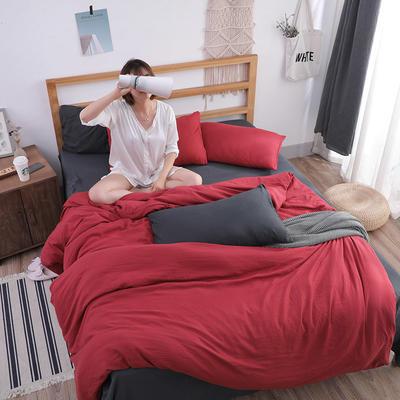 2018新款水洗棉四件套 1.2m(4英尺)床(四件套) 温莎气质灰