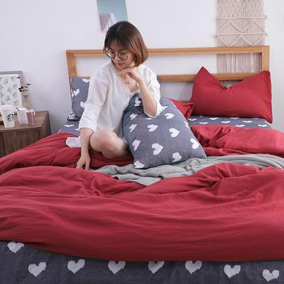 2018新款水洗棉四件套 1.2m(4英尺)床(四件套) 温莎心