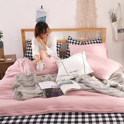 2018新款水洗棉四件套 1.2m(4英尺)床(四件套) 文艺格