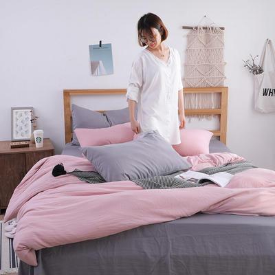 2018新款水洗棉四件套 1.2m(4英尺)床(四件套) 文艺太空灰