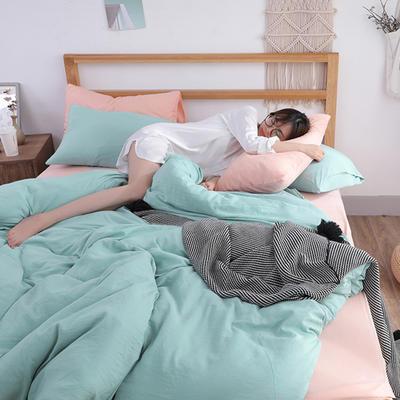 2018新款水洗棉四件套 1.2m(4英尺)床(四件套) 新叶活力玉