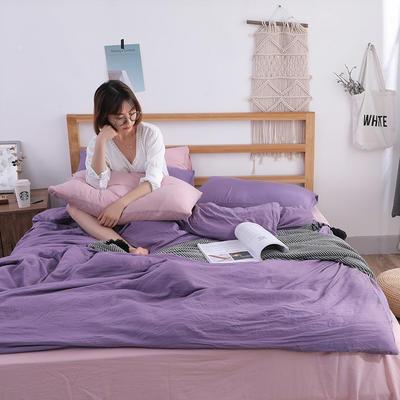 2018新款水洗棉四件套 1.2m(4英尺)床(四件套) 优雅文艺粉