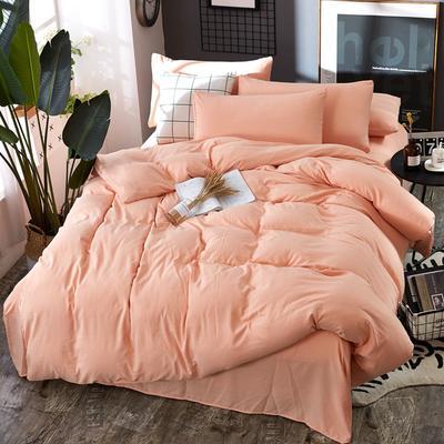 2019新款水洗棉纯色格条四件套 1.2m(4英尺)床 活力玉