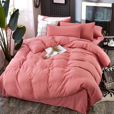 2019新款水洗棉纯色格条四件套 1.2m(4英尺)床 浪漫粉