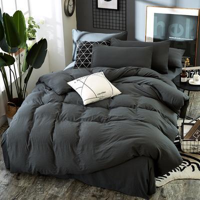 2019新款水洗棉純色格條四件套 1.2m(4英尺)床 氣質灰