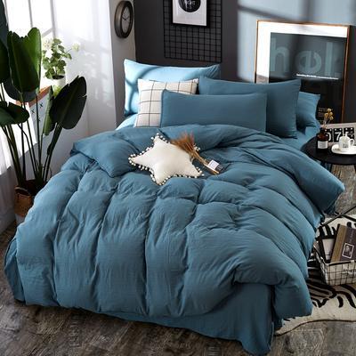 2019新款水洗棉纯色格条四件套 1.2m(4英尺)床 清新蓝