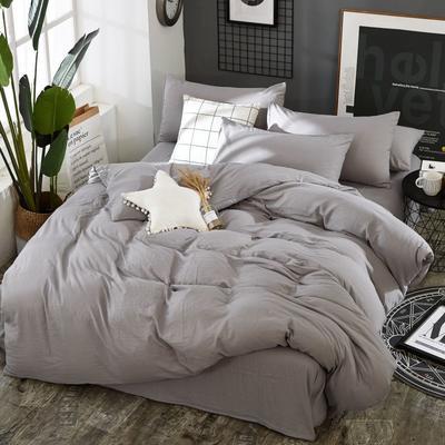 2019新款水洗棉純色格條四件套 1.2m(4英尺)床 太空灰