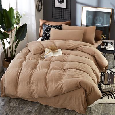 2019新款水洗棉純色格條四件套 1.2m(4英尺)床 溫和駝