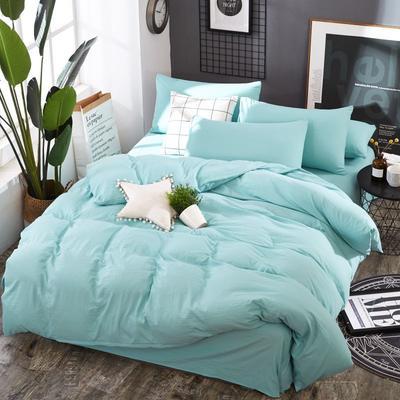 2019新款水洗棉纯色格条四件套 1.2m(4英尺)床 新叶绿