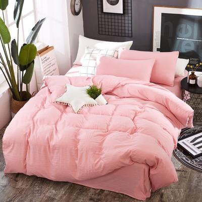 2019新款水洗棉純色格條四件套 1.2m(4英尺)床 櫻花粉