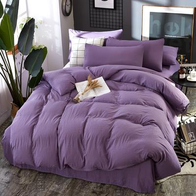 2019新款水洗棉純色格條四件套 1.2m(4英尺)床 優雅紫