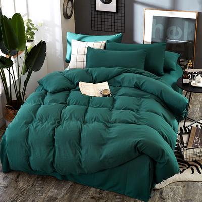 2019新款水洗棉纯色格条四件套 1.2m(4英尺)床 祖母绿