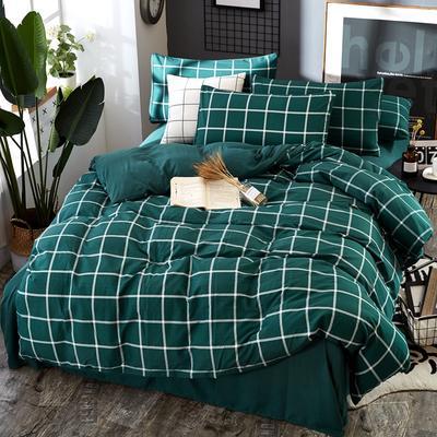 2019新款水洗棉纯色格条四件套 1.2m(4英尺)床 绿格