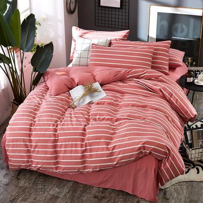 2019新款水洗棉純色格條四件套 1.2m(4英尺)床 條形粉