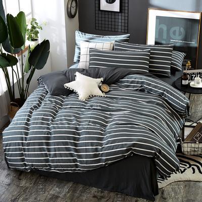 2019新款水洗棉纯色格条四件套 1.2m(4英尺)床 条形灰