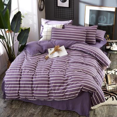 2019新款水洗棉純色格條四件套 1.2m(4英尺)床 條形紫