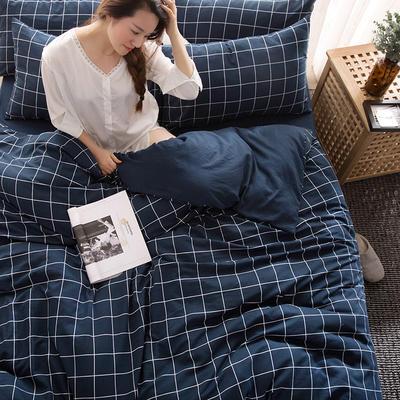 2018新款水洗棉印花格子系列四件套 1.8m(6英尺)床 藏蓝格