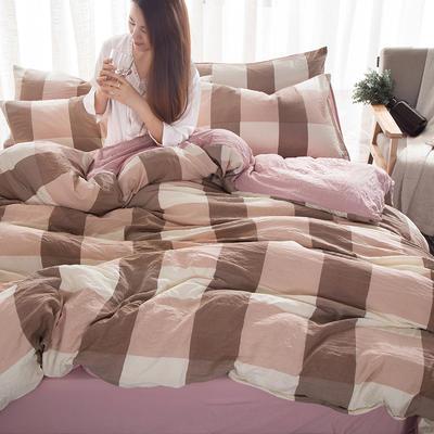 2018新款水洗棉印花格子系列四件套 1.8m(6英尺)床 豆沙大格