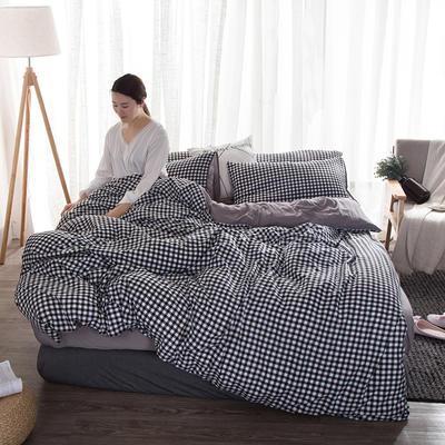 2019新款水洗棉印花格子系列四件套 1.5m(5英尺)床 黑白小格