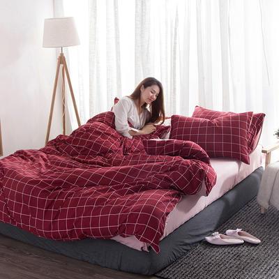 2018新款水洗棉印花格子系列四件套 1.8m(6英尺)床 红格