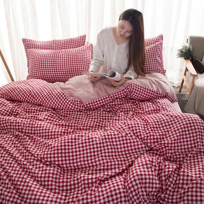 2019新款水洗棉印花格子系列四件套 1.5m(5英尺)床 红小格