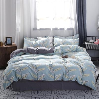 2018新款水洗棉印花格子系列四件套 1.8m(6英尺)床 蔓藤