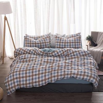 2018新款水洗棉印花格子系列四件套 1.8m(6英尺)床 七分格-蓝