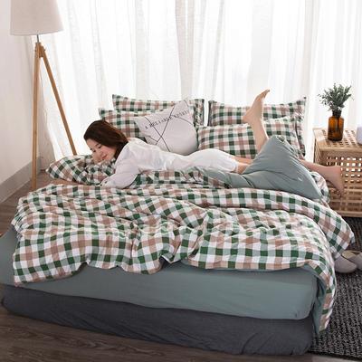 2018新款水洗棉印花格子系列四件套 1.8m(6英尺)床 七分格-绿