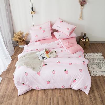 2019春夏水洗棉印花四件套 小号(1.2m)床单款 草莓