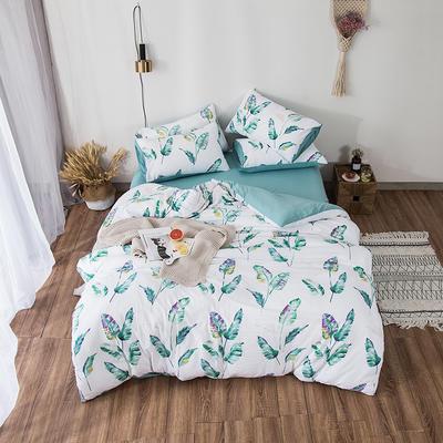 2019春夏水洗棉印花四件套 小號(1.2m)床單款 綠葉