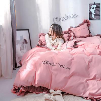 2019新品-小资女神款蕾丝款磨毛刺绣四件套 被套180*220 床单款 小资-粉色