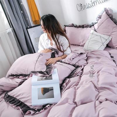 2019新品-小资女神款蕾丝款磨毛刺绣四件套 被套180*220 床单款 小资-裸紫