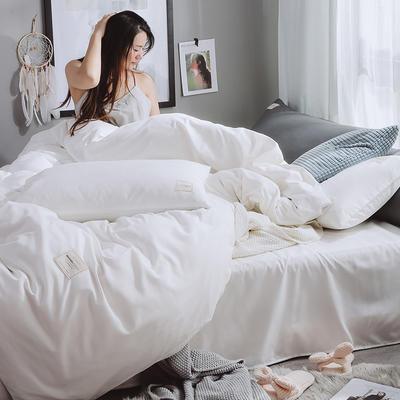 2019新品--日系加厚磨毛四件套 1m-1.2m 床单款四件套 白色