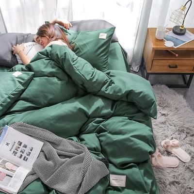2019新品--日系加厚磨毛四件套 1m-1.2m 床单款四件套 墨绿
