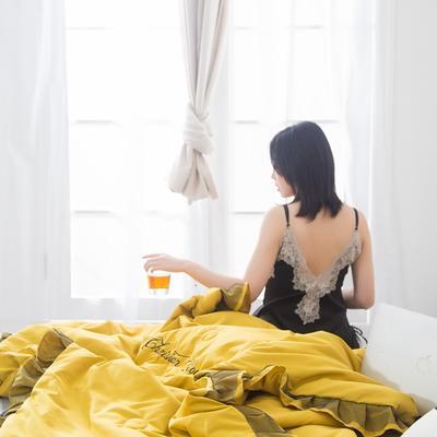 2019新款-小资情调蕾丝花边夏被 1.5*2.0m 姜黄
