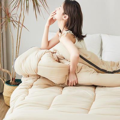 2019新款水洗棉立体纯色冬被 150*200  3斤 卡其