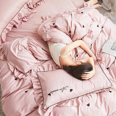 2019新款-爱心系列纯色磨毛轻奢极简风四件套 1.5m-1.8m床单款 爱心裸粉