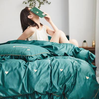 2019新款-爱心系列纯色磨毛轻奢极简风四件套 1.5m-1.8m床单款 爱心雾蓝