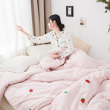 2019新款水果刺绣纯色水洗棉冬被