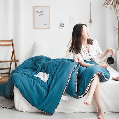 2019新款豹纹立体水洗棉加厚磨毛纯色冬被 150x200cm  5斤 豹纹立体蓝