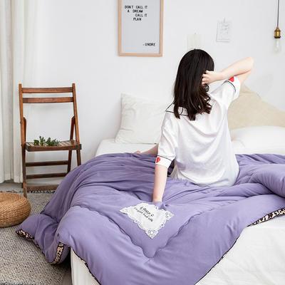 2019新款豹纹立体水洗棉加厚磨毛纯色冬被 150x200cm  5斤 豹纹立体紫