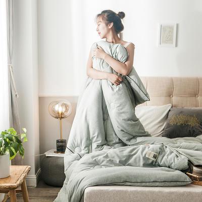 2019新款棉麻时代冬被 200X230cm 8斤 棉麻绿