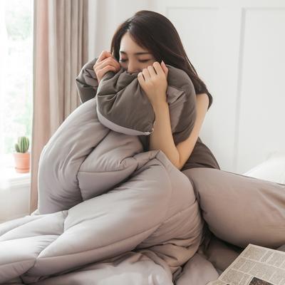 2019新款-日式纯色简约风水洗棉冬被 150*200 3斤 浅灰+深灰