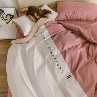 2019新款米蘭-玻尿酸純色雙拼磨毛四件套簡約風 1.2m床單款 米蘭-豆粉白