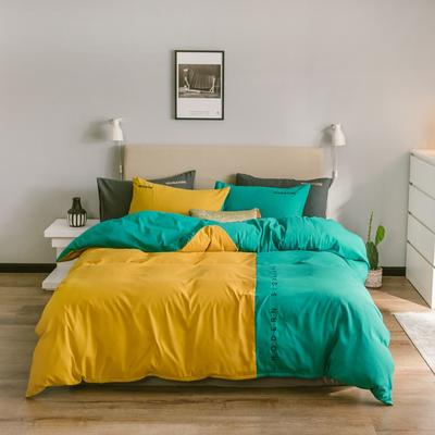 2020新款米兰-玻尿酸纯色双拼磨毛四件套简约风 1.5m床单款 米兰-魅黄蓝